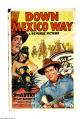 "Movie Posters:Western, Down Mexico Way (Republic, 1941). One Sheet (27"" X 41""). Gene and Frog (Gene Autry and Smiley Burnette) are hot on the trail... (1 )"