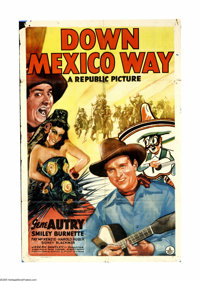 "Down Mexico Way (Republic, 1941). One Sheet (27"" X 41""). Gene and Frog (Gene Autry and Smiley Burnette) are ho..."