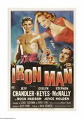 "Movie Posters:Drama, Iron Man (Universal International, 1951). One Sheet (27"" X 41""). Coal miner Coke Mason (Jeff Chandler) is persuaded to becom... (1 )"