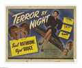 """Movie Posters:Mystery, Terror By Night (Universal, 1946). Title Lobby Card (11"""" X 14""""). Sherlock Holmes (Basil Rathbone) is guarding a priceless di... (1 )"""