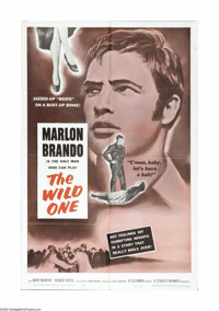"The Wild One (Columbia, R-1960). One Sheet (27"" X 41""). Marlon Brando was the natural choice to play the reneg..."