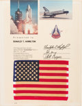Explorers:Space Exploration, Space Shuttle Columbia (STS-1) Flown American Flag on Presentation Certificate....