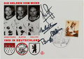 Explorers:Space Exploration, Apollo 11 Crew-Signed German Postcard Celebrating Their 1969 Visit....