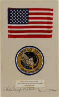 Explorers:Space Exploration, Apollo 12 Lunar Module Flown American Flag and Patch on a Crew-Signed Presentation Mat Directly from the Family Collection of ...