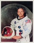 Autographs:Celebrities, Neil Armstrong Signed White Spacesuit Color Photo, Uninscribed. ...