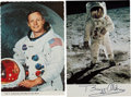 Autographs:Celebrities, Apollo 11 Moonwalkers: Pair of Individually Signed ColorPostcards....