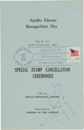 """Autographs:Celebrities, Neil Armstrong Signed """"Apollo 11 Recognition Day"""" TenthAnniversary-Cancelled Program. ..."""