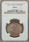 Commemorative Silver, 1951-S 50C Washington-Carver MS66 NGC. NGC Census: (214/18). PCGS Population: (232/5). CDN: $150 Whsle. Bid for problem-fre...