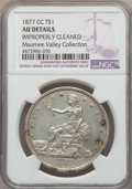 Trade Dollars: , 1877-CC T$1 -- Improperly Cleaned -- Details NGC. AU. EX: TheMaumee Valley Collection. NGC Census: (3/100). PCGS Populatio...