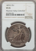 Trade Dollars: , 1875-S T$1 VF25 NGC. EX: The Maumee Valley Collection. NGC Census:(3/968). PCGS Population: (5/1378). Mintage 4,487,000. ...