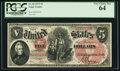 Large Size:Legal Tender Notes, Fr. 68 $5 1875 Legal Tender PCGS Very Choice New 64.. ...