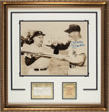Baseball Collectibles:Others, 1956 Mickey Mantle & Casey Stengel Signed Display with Ticket Stub. . ...