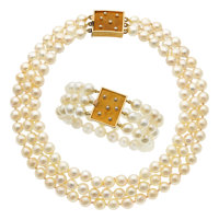 Cultured Pearl, Gold Jewelry Suite, Andrew Grima, English