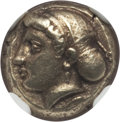 Ancients:Greek, Ancients: IONIA. Phocaea. Ca. 477-388 BC. EL sixth stater or hecte(10mm, 2.56 gm). NGC AU ★ 5/5 - 4/5....