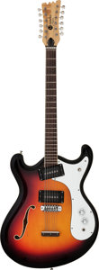 Musical Instruments:Electric Guitars, Circa 1966 Mosrite Combo-12 Sunburst 12 String Semi-Hollow BodyElectric Guitar, Serial # G0122....
