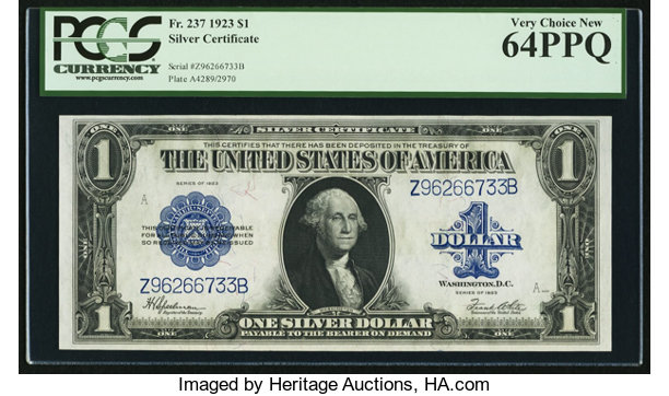 Fr. 237 $1 1923 Silver Certificate PCGS Very Choice New 64PPQ ...