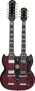 Musical Instruments:Electric Guitars, Circa 2008 Epiphone Double Neck Cherry Solid Body Electric Guitar,Serial # 0811210894....