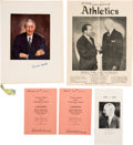 Autographs:Others, 1942 & 1951 Connie Mack Signed Ephemera Lot of 5 with MackFamily Provenance.. ...