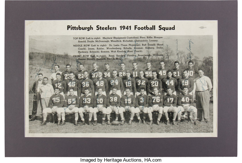 4f304e071 Football Collectibles:Photos, 1941 Pittsburgh Steelers Team Signed  Oversized Photograph - WithRare Walter Kiesling