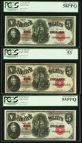 Large Size:Legal Tender Notes, $5 1907 Legal Tender Trio PCGS Graded. . ... (Total: 3 notes)