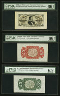 Fractional Currency:Third Issue, Fr. 1294SP, 1291SP 25¢ Third Issue Wide Margin Set PMG Graded. . ... (Total: 3 notes)