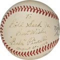 Baseball Collectibles:Balls, 1952 Babe Pinelli Single Signed Baseball - Home Plate Umpire for Don Larsen's Perfect Game. . ...