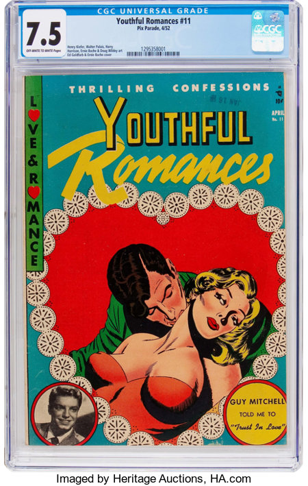 Youthful Romances #11 (Pix Parade, 1952) CGC VF- 7.5 Off-white to white pages....