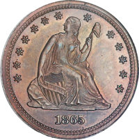 1865 25C Quarter Dollar, Judd-428A, Pollock-500, Unique -- Improperly Cleaned. NGC Details. Proof....(PCGS# 60613)