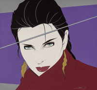 Patrick Nagel (American, 1945-1984) Joanna Acrylic on canvas 25 x 27 in. Signed lower right