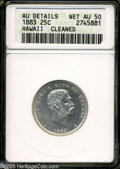 Coins of Hawaii: , 1883 25C Hawaii Quarter--Cleaned--ANACS. AU Details, Net AU50....