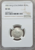 Colombia, Colombia: Charles IV Real 1801 NR-JJ XF45 NGC,...