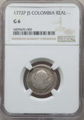 Colombia, Colombia: Charles III Real 1772 P-JS G06 NGC,...