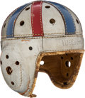 Football Collectibles:Helmets, 1930's College All Stars Game Worn Leather Helmet....
