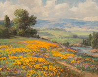 William Franklin Jackson (American, 1850-1936) Hillside of Poppies with Cumulus Clouds Oil on canva