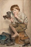 Works on Paper, John George Brown (American, 1831-1913). Pegged Out. Watercolor on paper laid on canvas. 24 x 16 inches (61.0 x 40.6 cm)...