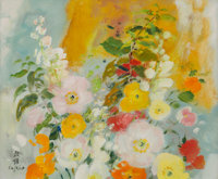 Le Pho (1907-2001) Les Poppies Oil on canvas 15 x 18 inches (38.1 x 45.7 cm) Signed in English