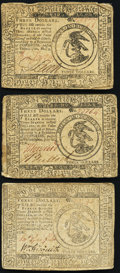 Colonial Notes:Continental Congress Issues, A Trio of $3 Continental Currency from Various Resolutions, Very Fine. Three Examples.. ... (Total: 3 notes)