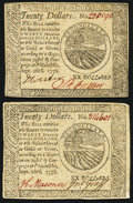Colonial Notes:Continental Congress Issues, Continental Currency September 26, 1778 $20 Extremely Fine orbetter. Two Examples.. ... (Total: 2 notes)
