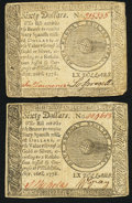 Colonial Notes:Continental Congress Issues, Continental Currency September 26, 1778 $60 Very Fine or better.Two Examples.. ... (Total: 2 notes)