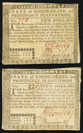 Colonial Notes:Rhode Island, Rhode Island July 2, 1780 $5 Very Fine. Two Examples.. ... (Total:2 notes)