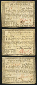 Colonial Notes:Rhode Island, Rhode Island July 2, 1780 $3 Very Fine or better. Three Examples..... (Total: 3 notes)