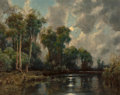 Paintings, A.D. Greer (American, 1904-1998). Moonlight Reflections. Oil on canvas. 24 x 30 inches (61.0 x 76.2 cm). Signed lower le...