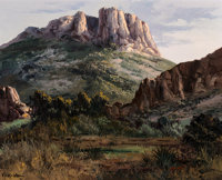 José Vives-Atsara (Spanish/American, 1919-2004) Afternoon in the Heart of the Chisos Mountains - Big Bend Natio...