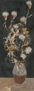 Fine Art - Painting, American, Ruth Tears (American, 1919-1971). Green Thistle, 1954. Oilon Masonite. 30-1/2 x 11-1/2 inches (77.5 x 29.2 cm). Signed ...