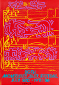 Fine Art - Work on Paper:Print, Keith Haring and Andy Warhol. 20th Montreux Jazz Festival,1986. Silkscreen in colors on paper. 39-3/8 x 27-1/2 inches (...