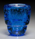 Art Glass:Other , A Blue Bubble Glass Vase in the Manner of Maurice Marinot, 20thcentury. 6 inches high x 5-1/2 inches diameter (15.2 x 14.0 ...