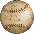 Baseball Collectibles:Balls, 1927 Philadelphia Athletics Team Signed Baseball with Ty CobbInscription.. ...