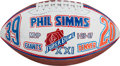 Football Collectibles:Balls, 1987 Phil Simms Signed Painted Super Bowl XXI Football.. ...