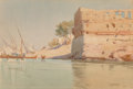 Works on Paper, Robert George Talbot Kelly (British, 1861-1934). Feluccas beached on the banks of the Nile, 1898. Watercolor on paper la...
