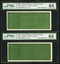 Error Notes:Ink Smears, Fr. 1922-H $1 1995 Federal Reserve Notes. Two Consecutive Examples.PMG Choice Uncirculated 64.. ...